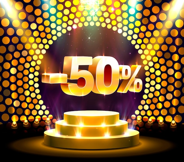 Ação pódio com percentual de desconto de ações 50. ilustração vetorial