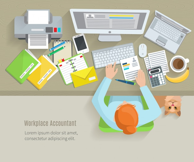 Accounter, vista superior, local trabalho, com, assento mulher, e, trabalhando objetos