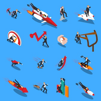 Acelere os ícones isométricos do conceito de negócio