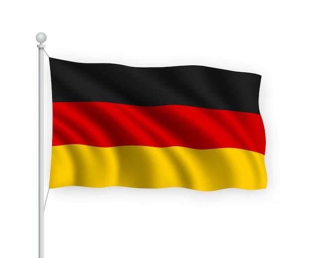 Acenando a bandeira alemanha no mastro isolado no branco