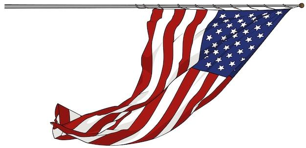 Acenando a bandeira americana isolada no fundo branco
