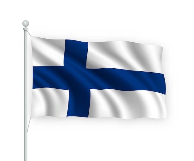 Acenando a bandeira da finlândia no mastro isolado no branco