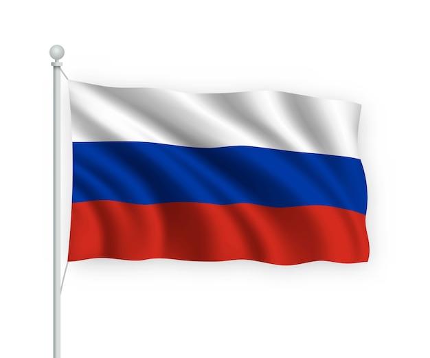 Acenando a bandeira da rússia no mastro isolado no branco