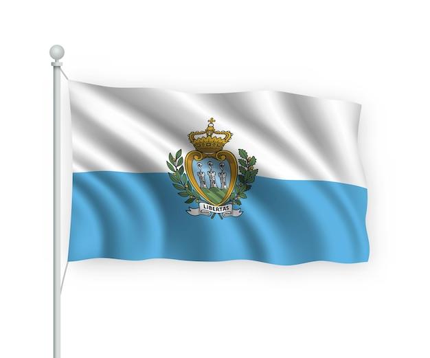 Acenando a bandeira de san marino no mastro isolado no branco
