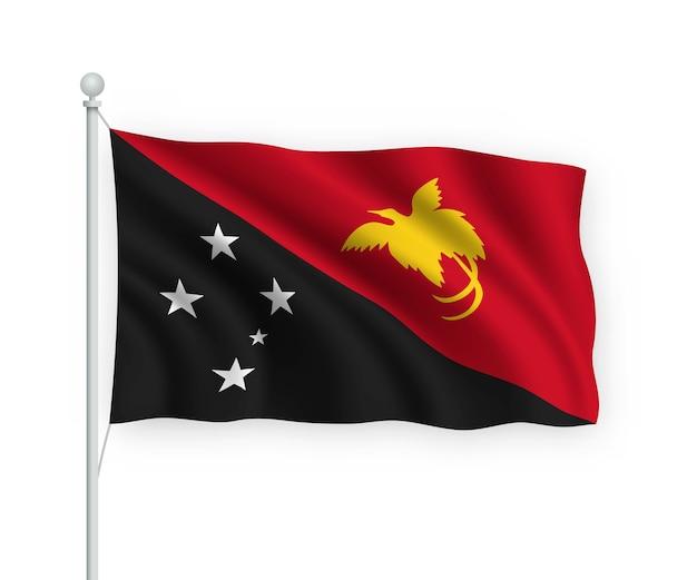 Acenando a bandeira papua nova guiné no mastro isolado no branco