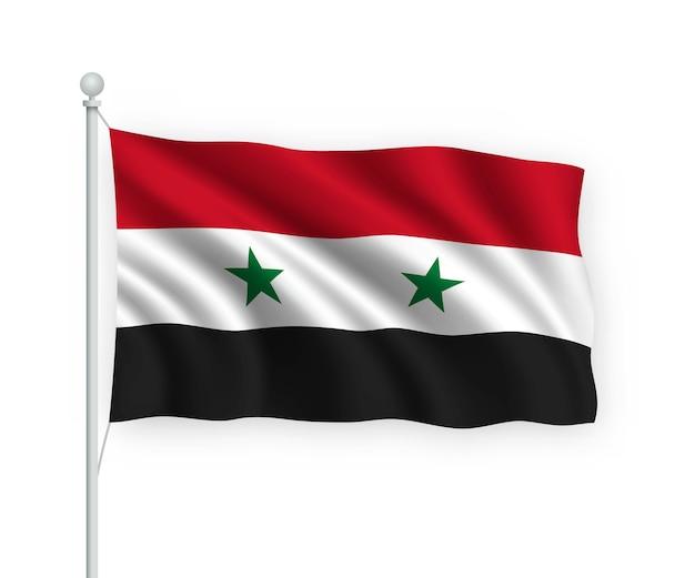 Acenando a bandeira síria no mastro isolado no branco