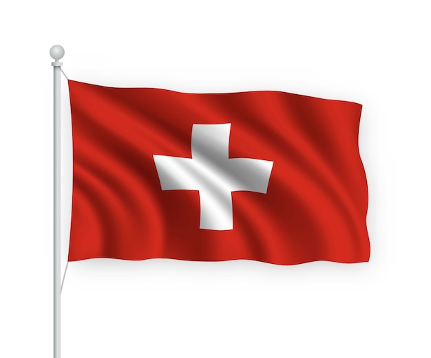 Acenando a bandeira suíça no mastro isolado no branco