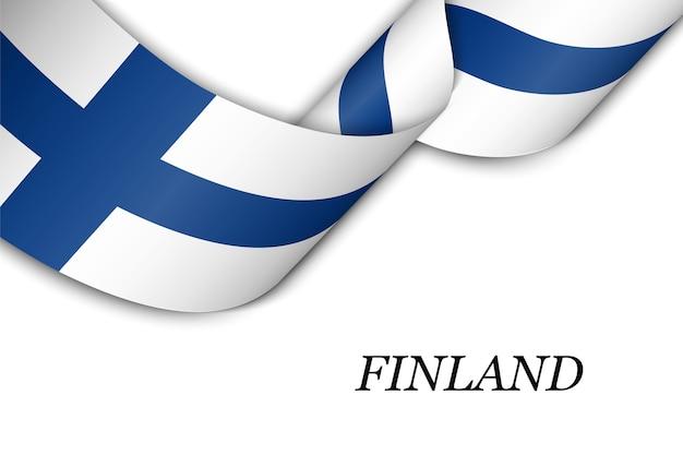 Acenando a fita com a bandeira da finlândia.