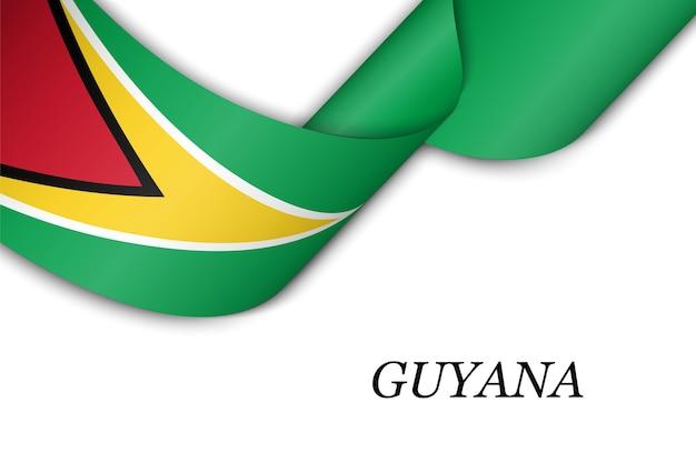 Acenando a fita com a bandeira da guiana.