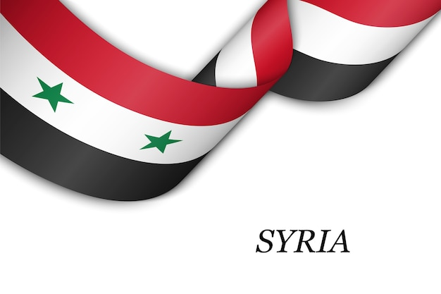 Acenando a fita com a bandeira da síria.