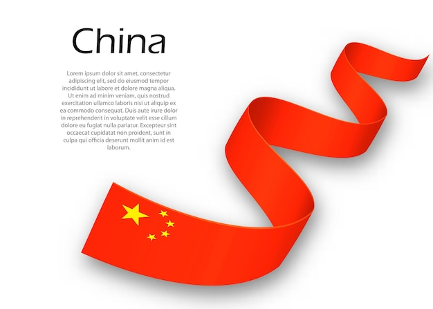 Acenando a fita ou banner com a bandeira da china. modelo para design de pôster do dia da independência