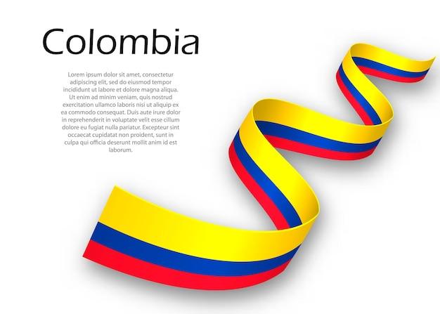 Acenando a fita ou banner com a bandeira da colômbia. modelo para design de pôster do dia da independência