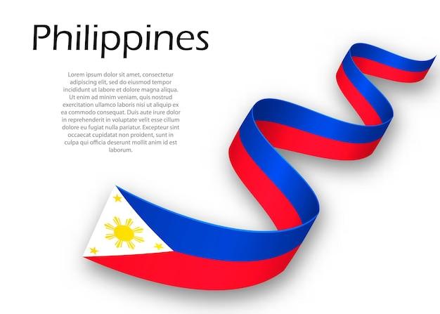 Acenando a fita ou banner com a bandeira das filipinas. modelo para design de pôster do dia da independência