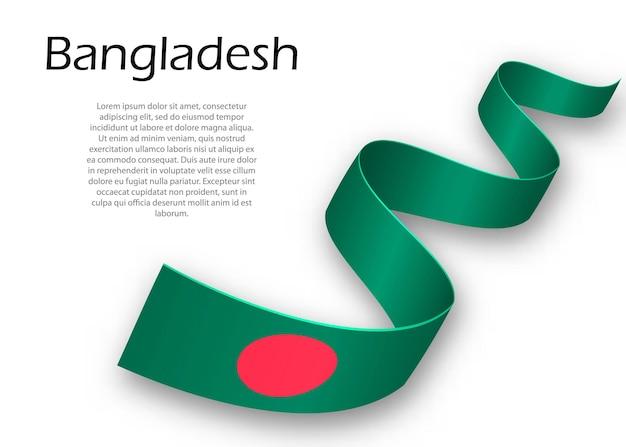 Acenando a fita ou banner com a bandeira de bangladesh. modelo para design de pôster do dia da independência