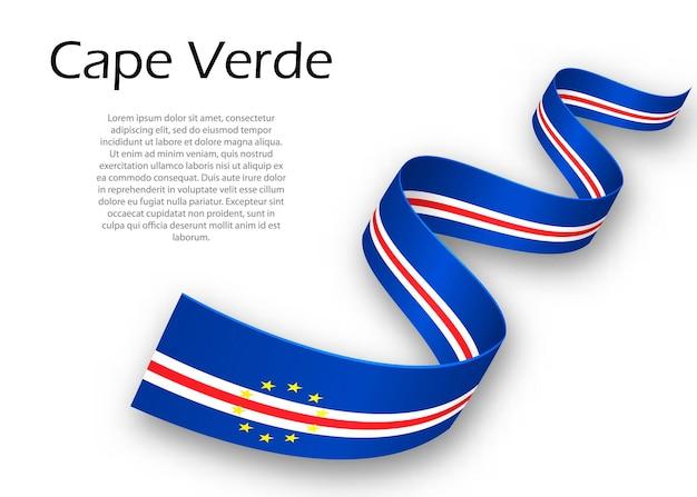 Acenando a fita ou banner com a bandeira de cabo verde. modelo para design de pôster do dia da independência