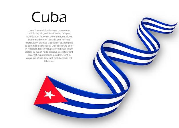 Acenando a fita ou banner com a bandeira de cuba. modelo para design de pôster do dia da independência