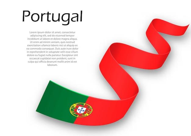 Acenando a fita ou banner com a bandeira de portugal. modelo para design de pôster do dia da independência
