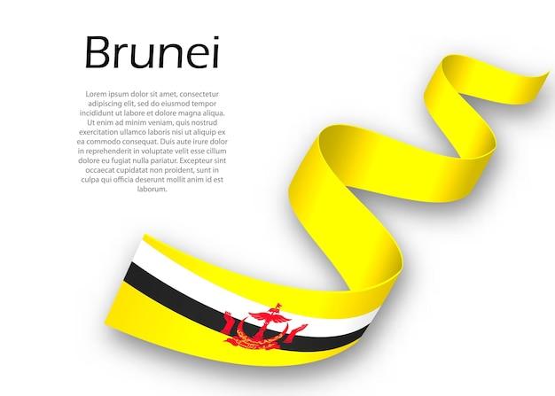 Acenando a fita ou banner com a bandeira do brunei. modelo para design de pôster do dia da independência