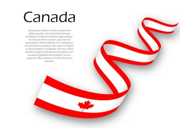 Acenando a fita ou banner com a bandeira do canadá. modelo para design de pôster do dia da independência