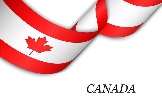 Acenando a fita ou banner com a bandeira do canadá.