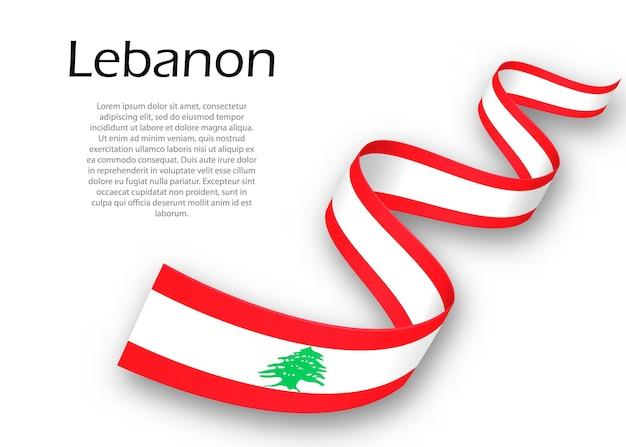 Acenando a fita ou banner com a bandeira do líbano. modelo para design de pôster do dia da independência