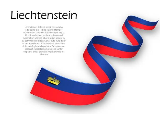Acenando a fita ou banner com a bandeira do liechtenstein. modelo para design de pôster do dia da independência