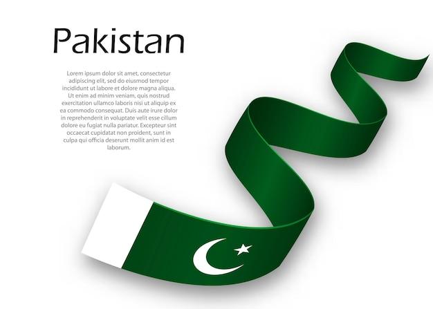 Acenando a fita ou banner com a bandeira do paquistão. modelo para design de pôster do dia da independência