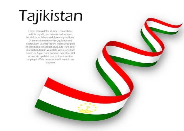 Acenando a fita ou banner com a bandeira do tadjiquistão. modelo para design de pôster do dia da independência