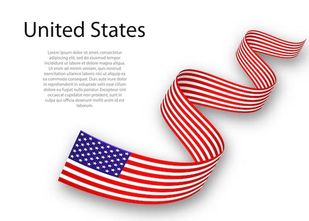 Acenando a fita ou banner com a bandeira dos estados unidos. modelo para design de pôster do dia da independência