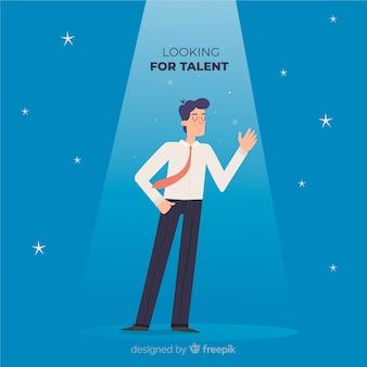 Acenando homem procurando fundo de talento