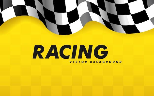 Acenando uma bandeira quadriculada ao longo das bordas em um fundo amarelo