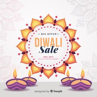 Acenda velas para vendas de diwali em design plano