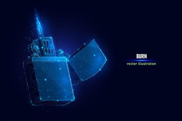 Acendedor de cigarros aberto com wireframe digital de chama feito de pontos conectados.