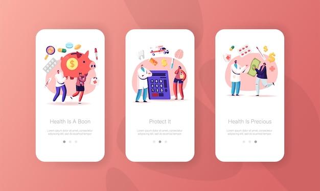 Acessibilidade de medicamento, modelo de tela de página de aplicativo móvel de cuidados de saúde.
