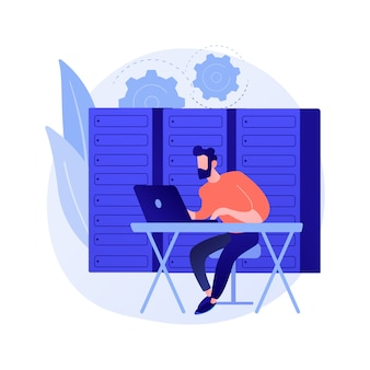 Acesso a banco de dados, abertura de banco de dados. segurança da informação, proteção da informação, armazenamento seguro. personagem de desenho animado do hacker. escritório com cofre metálico.