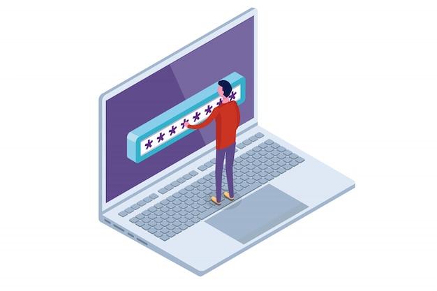 Acesso a dados, conceito isométrico de senha. formulário de login na tela. ilustração.