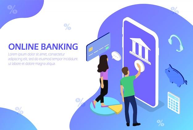 Acesso a operações bancárias via internet. banco móvel. pessoas. isométrico