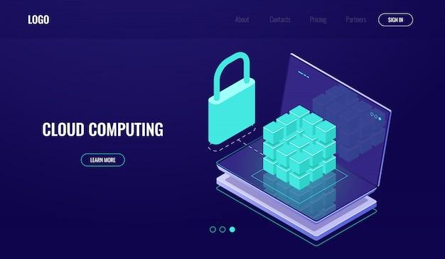 Acesso ao banco de dados, proteção segura de dados, segurança de dados, sala de servidores, computação em nuvem