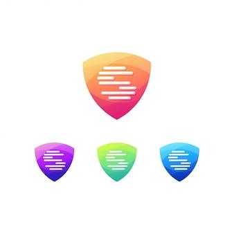 Acesso de assinatura do logotipo de impressão digital do escudo
