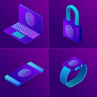 Acesso de impressão digital para laptop, relógio, telefone, conceito de segurança de negócios.