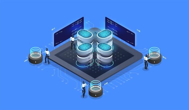 Acesso de segurança digital com dados biométricos.