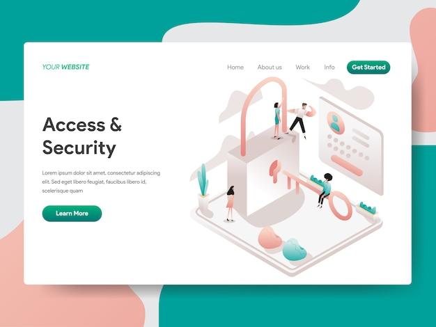 Acesso e segurança isométrica para a página do site