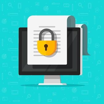 Acesso online a documento seguro confidencial bloqueado no site com cadeado privado no ícone plano do arquivo pc do computador