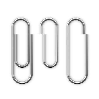 Acessório de clipe de papel realista com sombra. ícone de clipe de papel. anexar documento comercial do arquivo. ilustração