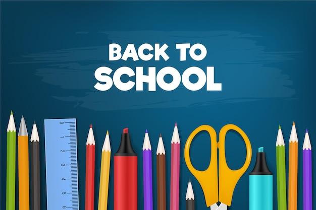 Acessórios coloridos de volta ao fundo da escola