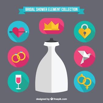 Acessórios coloridos do casamento em design plano