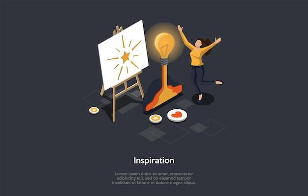 Acessórios de arte individuais e conceito de inspiração artística. um artista inspirado corre para expressar sua incrível ideia no desenho. uma personagem feminina pulando de felicidade