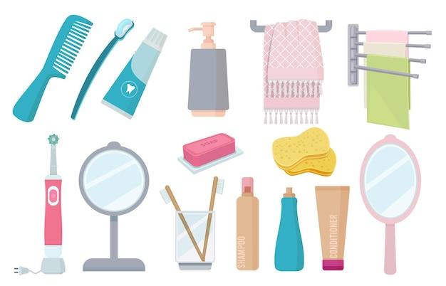 Acessórios de banheiro. escova de dentes pasta de higiene toalha creme pente itens coloridos.