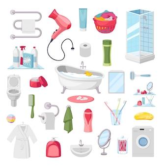 Acessórios de banheiro itens de higiene pessoal, ilustração