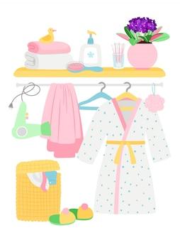 Acessórios de banheiro, itens de higiene, roupão de banho, ilustração de cesto de roupa suja